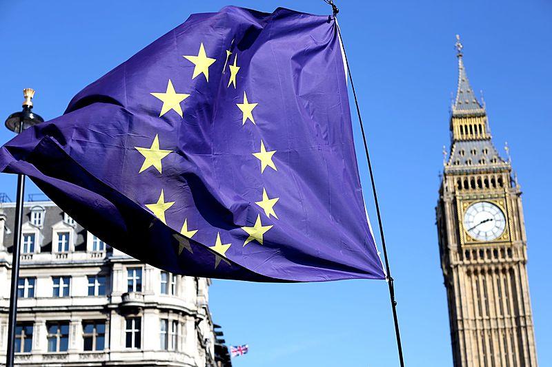 Brexit. EU flag outside Parliament.